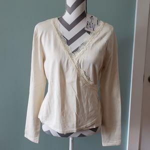 NWT Cream Nine & Co. Wrap sweater